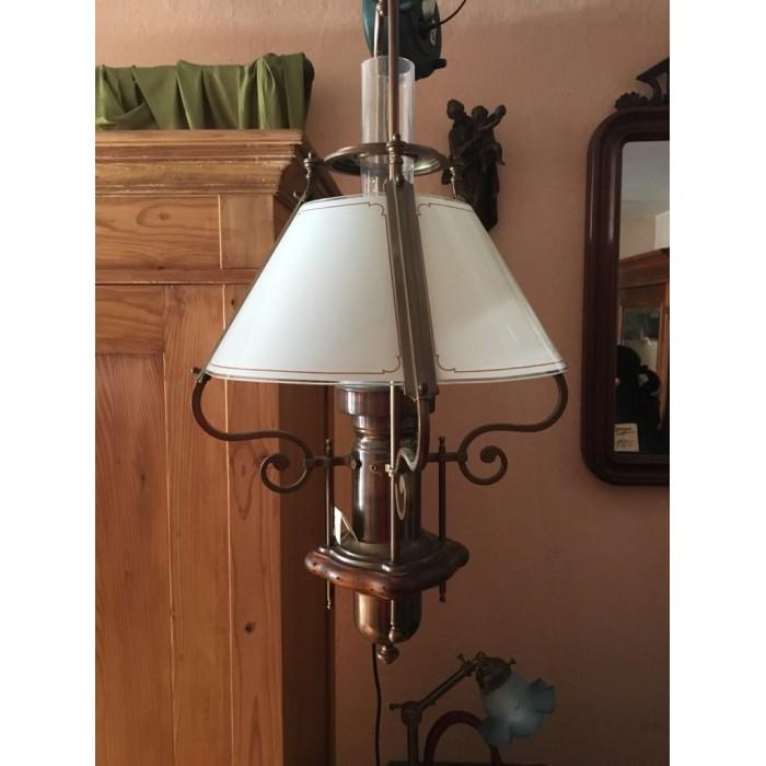 Alte, schöne Deckenlampe mit Glasschirm, Holz & Messing