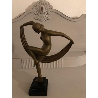 Bronze Jugendstil Skulptur Tänzerin mit Tuch ca. 1920