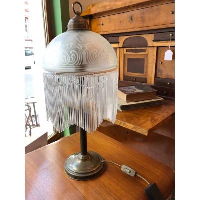 Jugendstil Tischlampe mit Glasstäbchen
