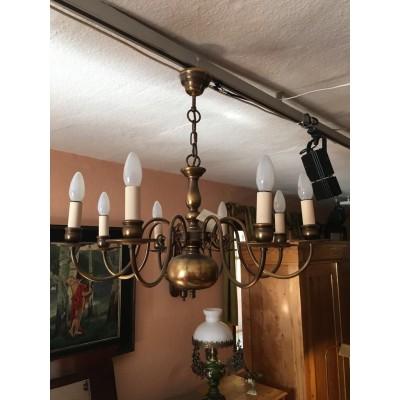 Messinglampe / Kronleuchter um 1930-50